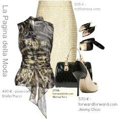 Falda dorada y negro