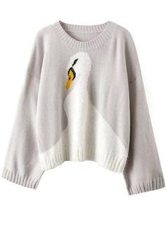 Wide Sleeve Swan Pattern Jumper