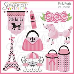 Pink Paris clipart includes Eiffel tower, lipstick, flowers, shopping bag, gift boxes, pink poodle, cafe table.  Great for Paris themed party invitations and printables!  Embroidery and other paper crafting would be cute too.