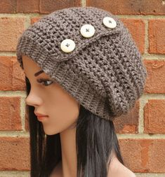 Crochet Slouchy Beanie Button Hat Womens // THE by AlyseCrochet