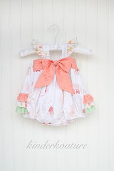 The Sweet Bunny Baby Bubble is one our bestselling items in 2015. This gorgeous baby bubble is full of details such as an elasticiized back bodice, a large bow that adorns the front, snaps in the crot