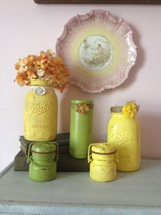 PAINTED DISTRESSED JARS Home Decor Set of 5 by AnnmarieFamilyTree