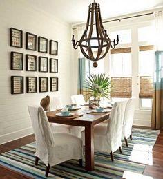dining room, framed shells