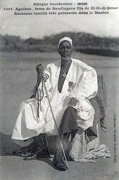 1904 Soudan, Afrique Occidentale: 'Aguibou, fama of Bandiagara, son of El-Hadj-Omar. Very old and powerfull family of Macina'. Out Of Africa, West Africa, North Africa, African Tribes, African Diaspora, African Culture, African History, Black King And Queen, African Royalty