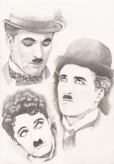 """Chaplin is """"For The Ages"""" Portrait Sketches, Art Sketches, Art Drawings, Charlie Chaplin Videos, Charly Chaplin, Chaplin Film, Charles Spencer Chaplin, Westerns, Girl Face Drawing"""