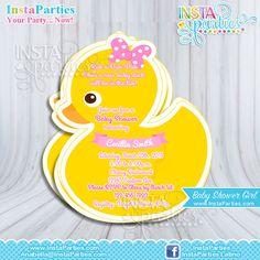 Rubber Duck Invitations Baby Shower boy girl, Baby Ducky invitation, baby girl Yellow duckie invites Birthday Party shower Digital cute.