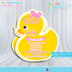 Rubber Duck Invitations Baby Shower boy girl, Baby Ducky invitation, baby girl Yellow duckie invites Birthday Party shower Digital cute.