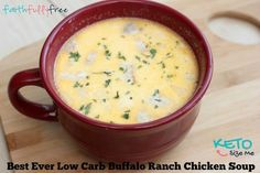 Best ever Low Carb Keto Buffalo Ranch Chicken Soup recipe. It doesn't get any better than this! You will fall in love with this low carb high fat keto recipe.