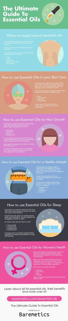 The Ultimate Guide To Essential Oils: There are 94 essential oils, each with their own list of benefits and uses. Use this infographic to learn how to apply them, use them in your skin care, for hair growth, to adopt a healthier lifestyle, for sleep and women's health. Don't forget to save this pin for later!