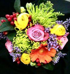 Summer brights wedding bouquet www.facebook.com/flowerpotpontyclun
