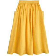 Mara Hoffman Yellow Patch Pocket Midi Skirt ($275) ❤ liked on Polyvore featuring skirts, shirred skirts, yellow midi skirt, linen skirt, mid calf skirts and linen midi skirt