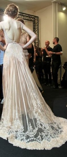 Elie Saab - my favourite designer for big, couture gown glamour! Look at that mesh train! Elie Saab Bridal, Bridal Gowns, Wedding Gowns, Lace Wedding, Light Wedding, Wedding Lighting, Event Lighting, Backless Wedding, Gothic Wedding