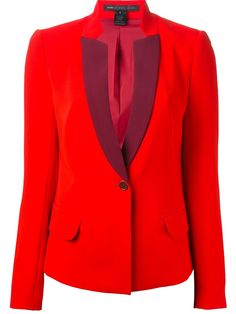 Marc by Marc Jacobs MARC BY MARC JACOBS button up blazer Red blazer from Marc By Marc Jacobs featuring notched lapels with a contrast trim, a front button fastening, long sleeves, button cuffs, front flap pockets, a rear central vent and a slightly curved hemline.