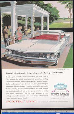=-=1960 vintage BONNEVILLE Vista PONTIAC General Motors Illustrated Ad Advertisement