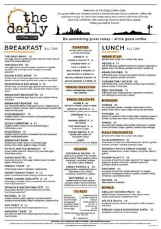 The Daily Menus - The Daily Coffee Cafe Coffee Menu, Coffee Cafe, Coffee Drinks, Cafe New York, Cheese Wrap, New Menu, Best Coffee, Something To Do, Restaurant
