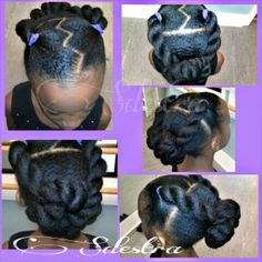 Zig-zag Part with Chunky Twists Into Bun via Sdestra on Pinterest  great site for natural hair care info