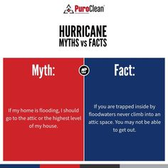 Don't believe the myth that the attic is the safest place to be during a hurricane. Know the facts and stay safe! House Cleaning Tips, Cleaning Hacks, Getting Out, Clean House, Attic, Facts, Stay Safe, Loft Room, Attic Rooms