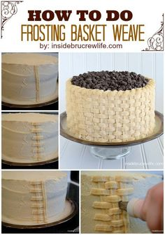 How To Do Frosting Basket Weave ~ Chocolate Chip Banana Cake with Honey Peanut Butter Frosting.Banana and chocolate chips make this box mix cake a special treat. Peanut butter frosting takes it over the top. Cake Decorating Techniques, Cake Decorating Tutorials, Cookie Decorating, Decorating Cakes, Frosting Recipes, Cake Recipes, Dessert Recipes, Frosting Tips, Cake Icing
