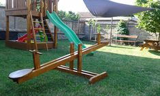 Wood Seesaw or Teeter Totter Kids Outdoor Play, Backyard For Kids, Outdoor Fun, Diy For Kids, Outdoor Games, Backyard Ideas, Garden Ideas, Kids Seesaw, Backyard Playset