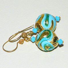 King Tut Venetian Glass Bead Earrings by HeidemarieMDesign on Etsy