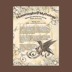 HUMMINGBIRD MYTHOLOGY, Digital Download, Book of Shadows Page, BOS Grimoire, Scrapbook, Spells, Wiccan, Witchcraft,