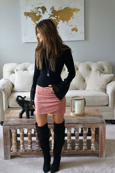 Bell Sleeves and Faux Suede Skirt = Perfect Dat Night Look -  lilacandlipgloss