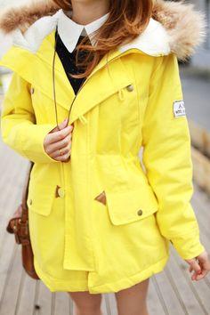 $29.18 bright yellow hooded fashion thick windbreaker! ! ! Super nice color-ZZKKO