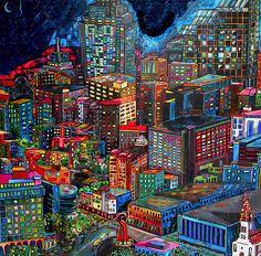 One of my favorite San Antonio pieces. View from the Hemisphere. San Antonio Art Artist Patti Schermerhorn