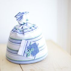 UpCycled Newborn BoY Blue Striped Cap with Bike by EllesPropShop, $20.00