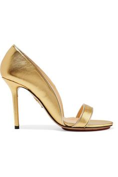 GABRIELLE'S AMAZING FANTASY CLOSET | Charlotte Olympia Gold Leather Sandal-Toe Pump.Heel measures approximately 125mm/ 5 inches Made in Italy | You can see the rest of the Outfit and my Remarks on this board. - Gabrielle