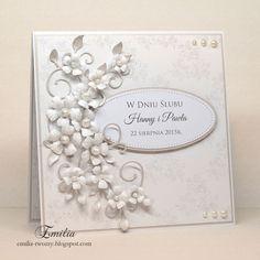 Emilia tworzy: Biel i srebro Wedding Day Cards, Vintage Wedding Cards, Wedding Cards Handmade, Beautiful Handmade Cards, Rustic Wedding, Printable Wedding Invitations, Wedding Stationery, 50th Anniversary Cards, Teacher Thank You Cards