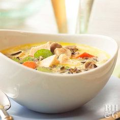 Chicken and Wild Rice Chowder. Leftover chicken combine with wild rice, carrots, and mushrooms in this chunky soup that is a quick and easy meal. Soup Recipes, Chicken Recipes, Cooking Recipes, Healthy Recipes, Chowder Recipes, Dinner Recipes, Chicken And Wild Rice, Wild Rice Soup, Gastronomia