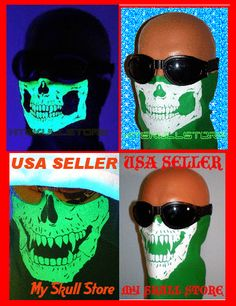 AMERICAN MADE  GREEN MOTORCYCLE FaCe MASK SKULL BUG WIND SHIELD USE WITH OR WITHOUT HELMET http://www.shop.skullstore.com/