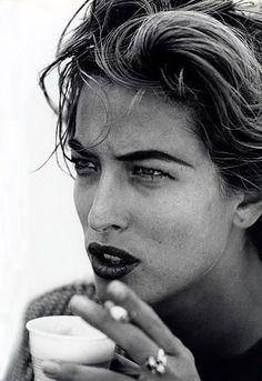 Tatiana Patitz by Peter Lindbergh -- Portrait - Fashion - Editorial - Black and White - Photography - Pose