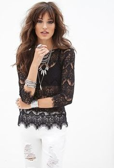 Forever 21 Eyelash Lace Top Found on my new favorite app Dote Shopping #DoteApp #Shopping