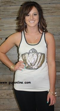 Save 10% on your order at www.gugonline.com by using the discount code GUGREPKCAR! If The Crown Fits Ivory Tank $24.95