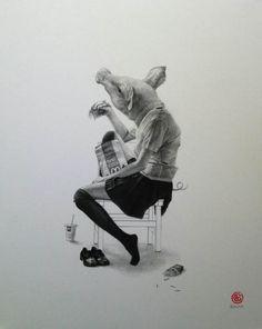 Takumi Kama's Eerie Pencil Drawings Of Animals As High School Girls