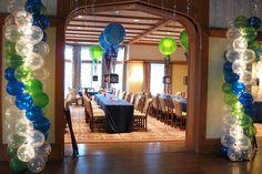 Entrance Balloon Columns Lime Green & Royal Blue Balloon Columns with Lights by Entrance