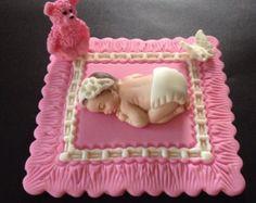 Fondant Babymädchen auf eine rosa Decke Kuchen Topper, Tauffeier, Geburtstag