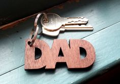 Wooden laser Cut Dad Keychain por NinaRaizel en Etsy