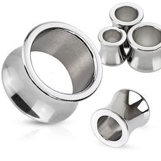 Surgical Stainless Steel Double Flare Thick Flesh Tunnel Plugs, Pair