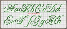 Embroidery Fonts, Cross Stitch Embroidery, Embroidery Designs, Cross Stitch Letters, Alphabet And Numbers, Le Point, Stitch Patterns, Lettering, Perler Beads
