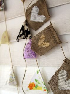 burlap banner with text hearts by iwishedforyou on Etsy