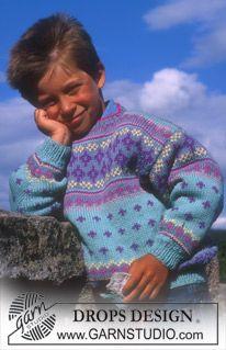 Maglione DROPS ai ferri con motivo jacquard in Karisma Baby Knitting Patterns, Knitting Stiches, Knitting For Kids, Baby Patterns, Free Knitting, Crochet Patterns, Drops Design, Crochet Baby, Knit Crochet