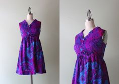 60s Mini Dress / Vintage 1960s Psychedelic Dress / by HolliePoint, $30.00