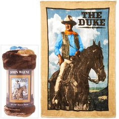 """Keep it warm, Pilgrim, with this comfy fleece throw! The Duke rides high in the saddle on this luxurious 50"""" x60"""" microplush fleece throw. Desert colors and the"""
