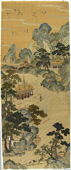 "Mythical realm,  late 18th century. Qing dynasty (1644–1911). China. The Metropolitan Museum of Art, New York. Gift of Mrs. Wilton Lloyd-Smith, 1954 (54.158.1) | This work is featured in our ""Painting with Threads"" exhibition, on view through March 29, 2015 #AsianArt100"