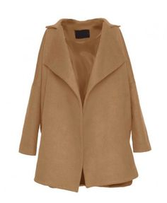 Wool Blend Cocoon Coat with Notched Lapels