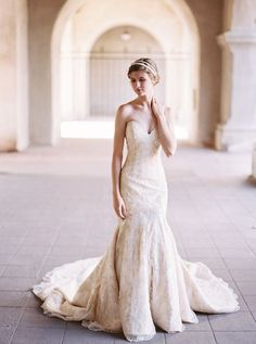 Elegant Champagne Lace Matthew Christopher Gown - The Best Wedding Dresses of 2015! | Katie Grant Photography | http://heyweddinglady.com/best-wedding-dresses-2015/