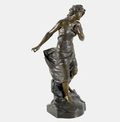MADRASSI, LUCA Tricesimo 1848 - Paris 1919 Nymphe. Bronze, bräunlich patiniert, a.d. Sockel sig — Skulpturen, Plastiken, Installationen, Bronzen, Relief